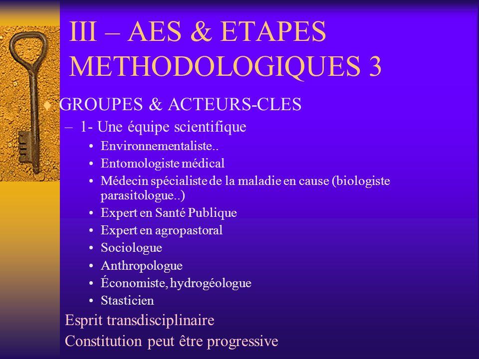 III – AES & ETAPES METHODOLOGIQUES 3