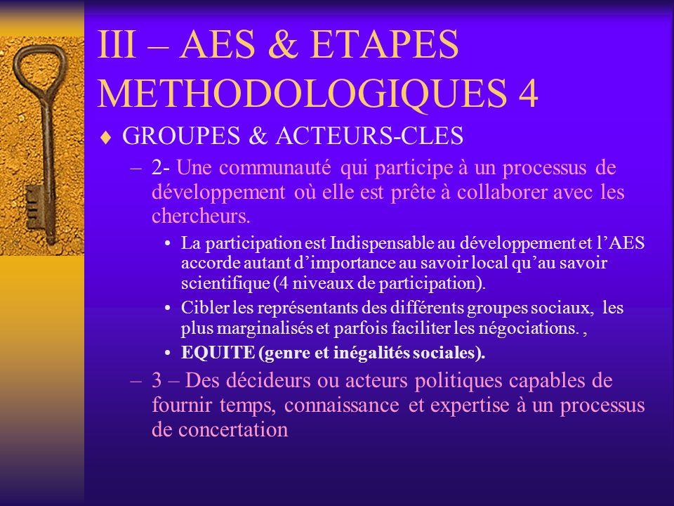 III – AES & ETAPES METHODOLOGIQUES 4