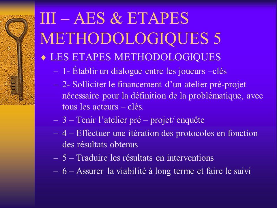 III – AES & ETAPES METHODOLOGIQUES 5