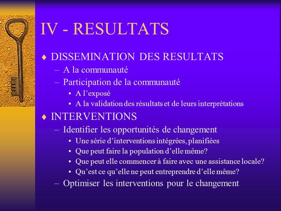 IV - RESULTATS DISSEMINATION DES RESULTATS INTERVENTIONS