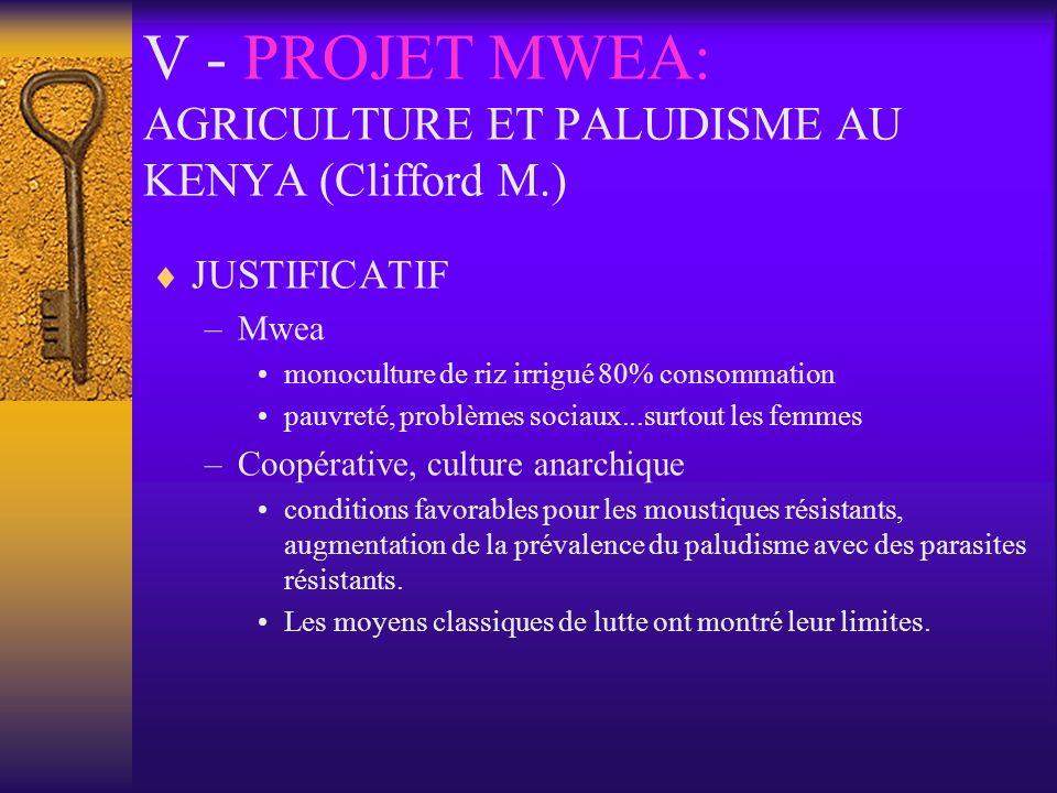 V - PROJET MWEA: AGRICULTURE ET PALUDISME AU KENYA (Clifford M.)