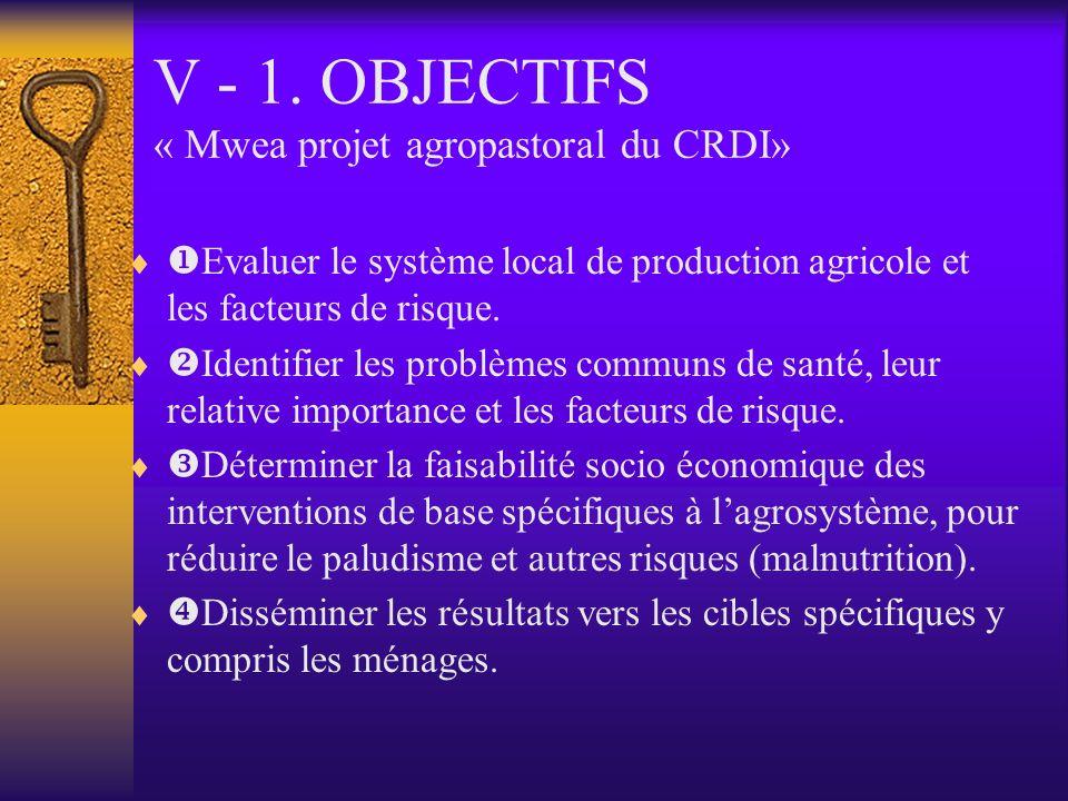 V - 1. OBJECTIFS « Mwea projet agropastoral du CRDI»