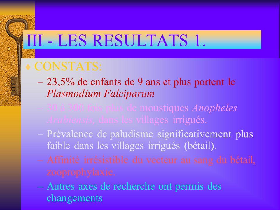 III - LES RESULTATS 1. CONSTATS: