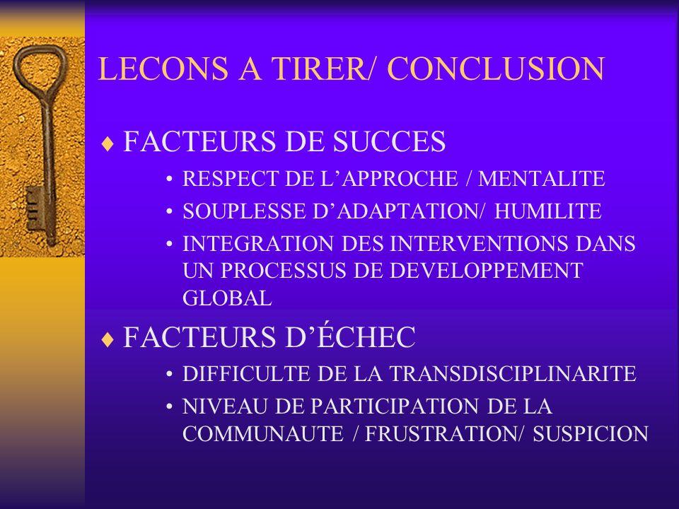 LECONS A TIRER/ CONCLUSION