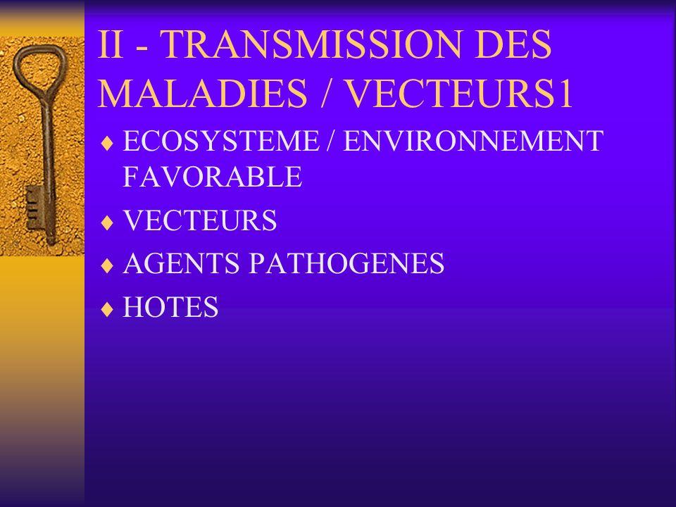 II - TRANSMISSION DES MALADIES / VECTEURS1