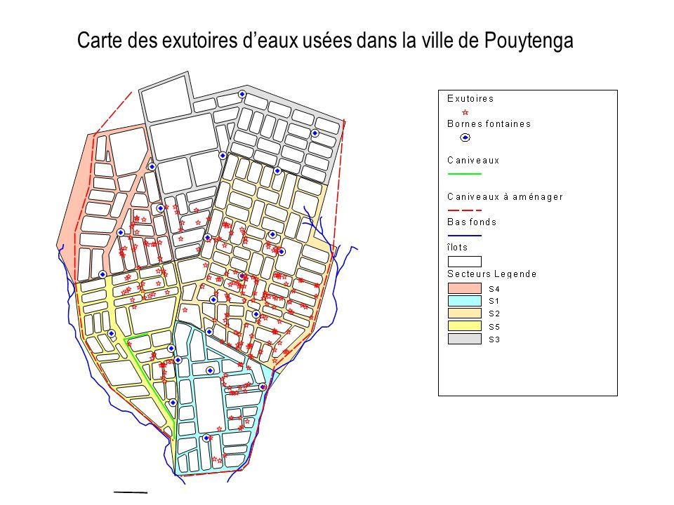 Carte des exutoires d'eaux usées dans la ville de Pouytenga