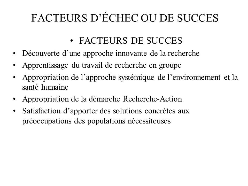FACTEURS D'ÉCHEC OU DE SUCCES