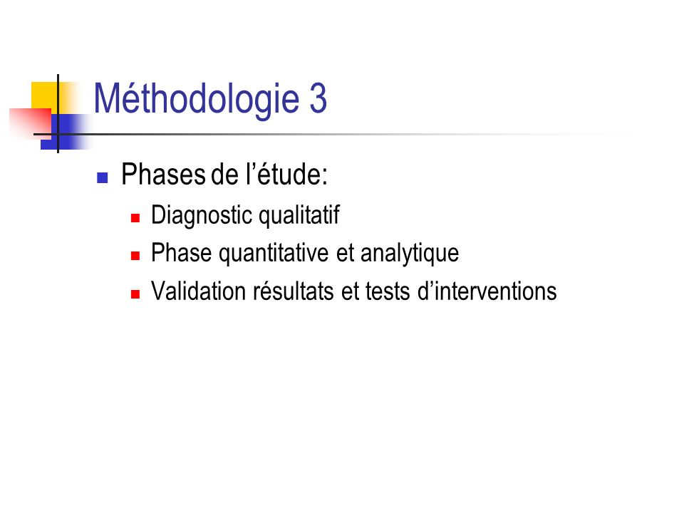 Méthodologie 3 Phases de l'étude: Diagnostic qualitatif
