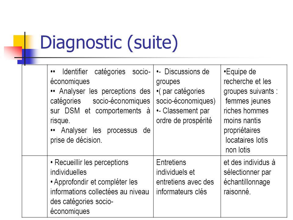 Diagnostic (suite) • Identifier catégories socio-économiques