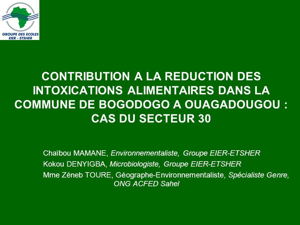CONTRIBUTION A LA REDUCTION DES INTOXICATIONS ALIMENTAIRES DANS LA COMMUNE DE BOGODOGO A OUAGADOUGOU : CAS DU SECTEUR 30