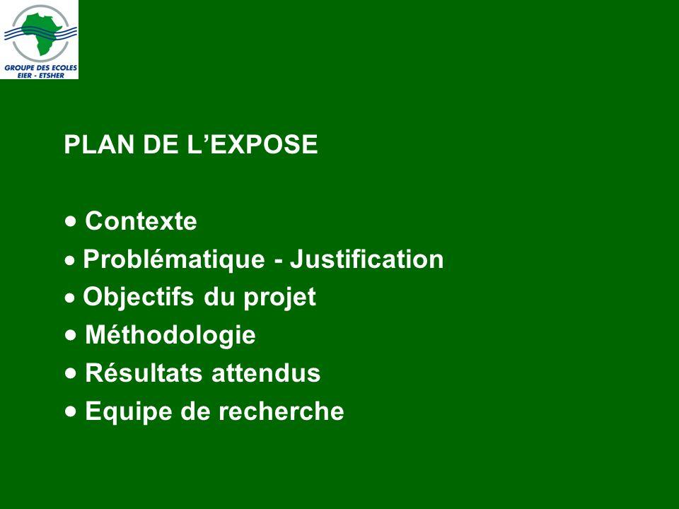 PLAN DE L'EXPOSE Contexte.  Problématique - Justification.  Objectifs du projet. Méthodologie.