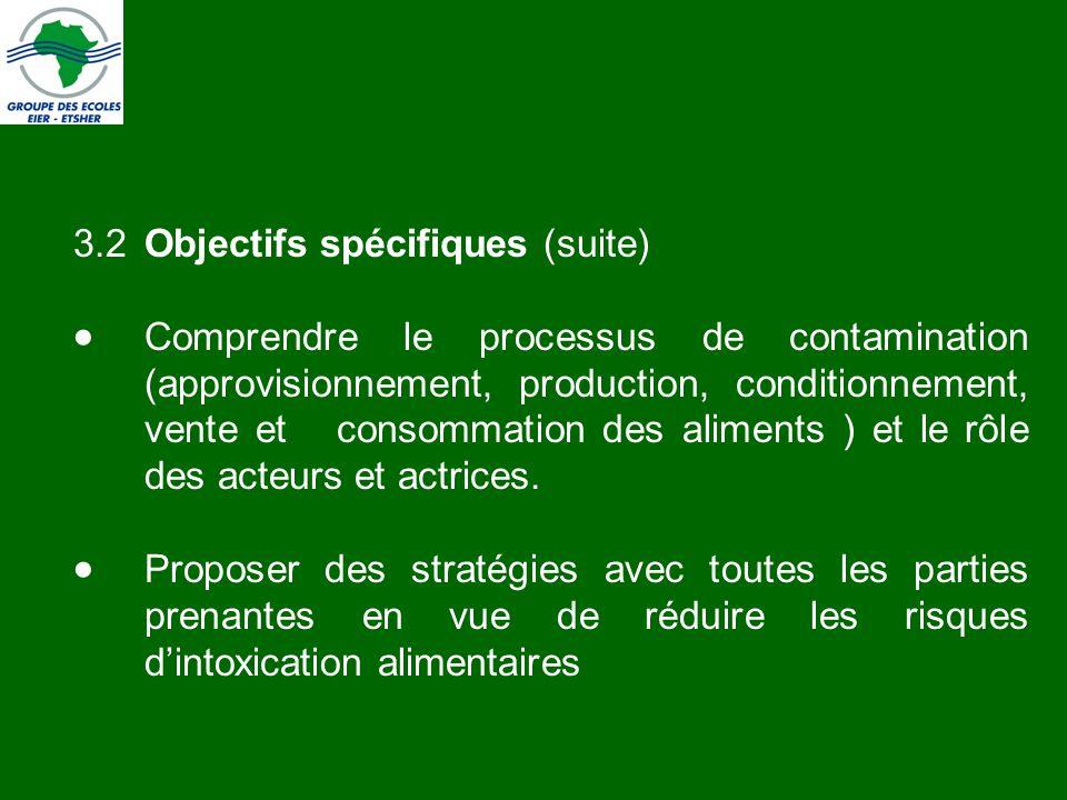 3.2 Objectifs spécifiques (suite)