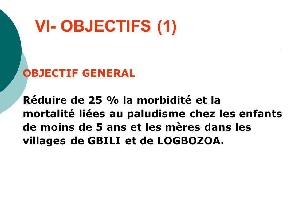 VI- OBJECTIFS (1) OBJECTIF GENERAL Réduire de 25 % la morbidité et la