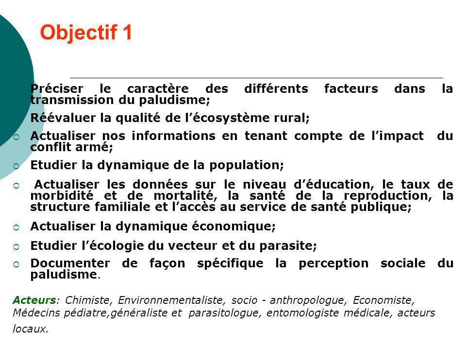 Objectif 1Préciser le caractère des différents facteurs dans la transmission du paludisme; Réévaluer la qualité de l'écosystème rural;