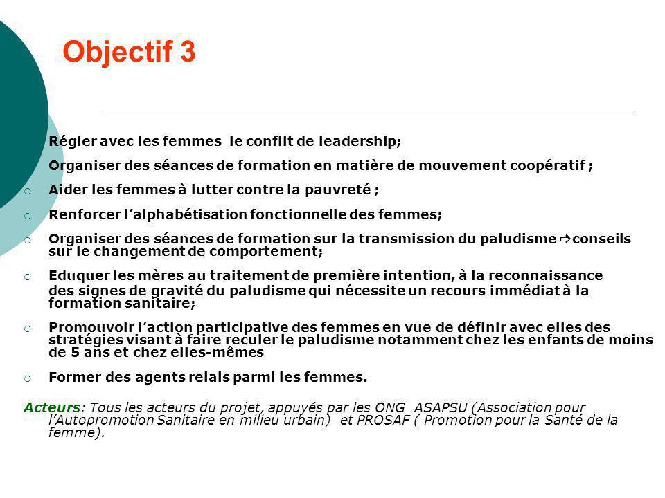 Objectif 3 Régler avec les femmes le conflit de leadership;