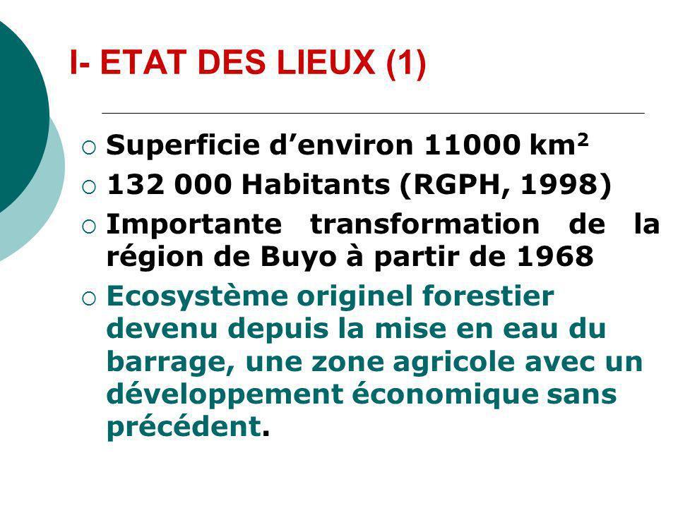 I- ETAT DES LIEUX (1) Superficie d'environ 11000 km2