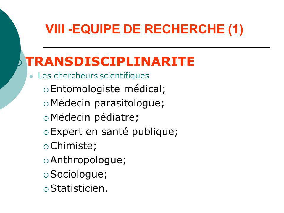 VIII -EQUIPE DE RECHERCHE (1)