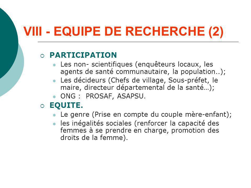 VIII - EQUIPE DE RECHERCHE (2)