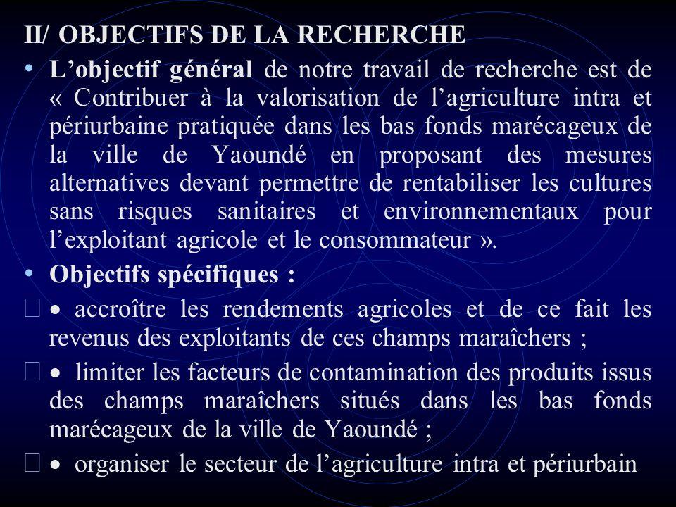 II/ OBJECTIFS DE LA RECHERCHE
