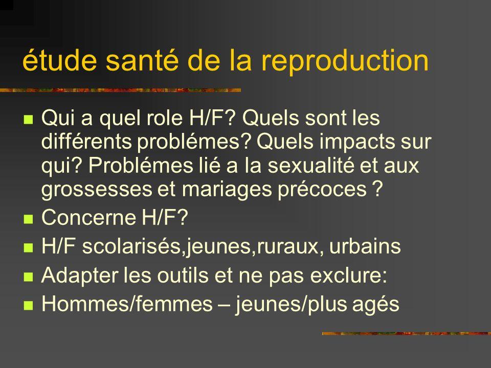 étude santé de la reproduction