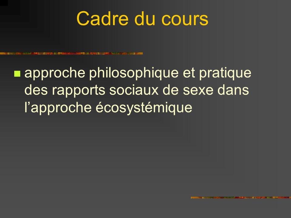 Cadre du cours approche philosophique et pratique des rapports sociaux de sexe dans l'approche écosystémique.