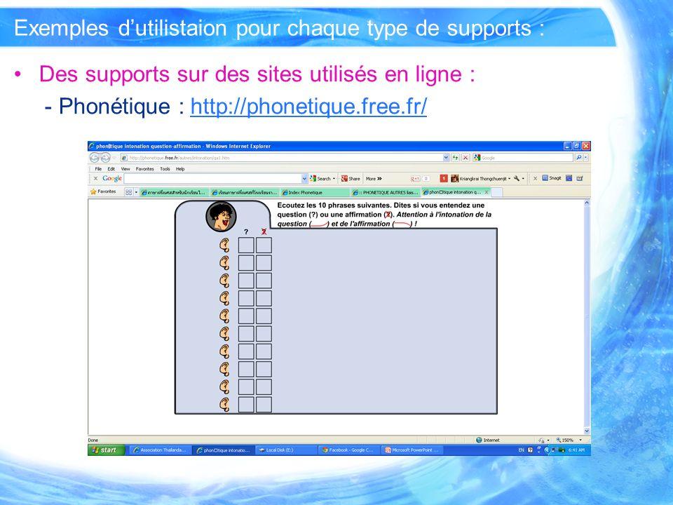 Exemples d'utilistaion pour chaque type de supports :