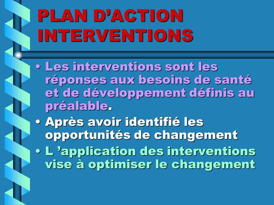 PLAN D'ACTION INTERVENTIONS