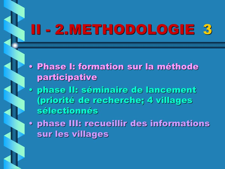 II - 2.METHODOLOGIE 3 Phase I: formation sur la méthode participative