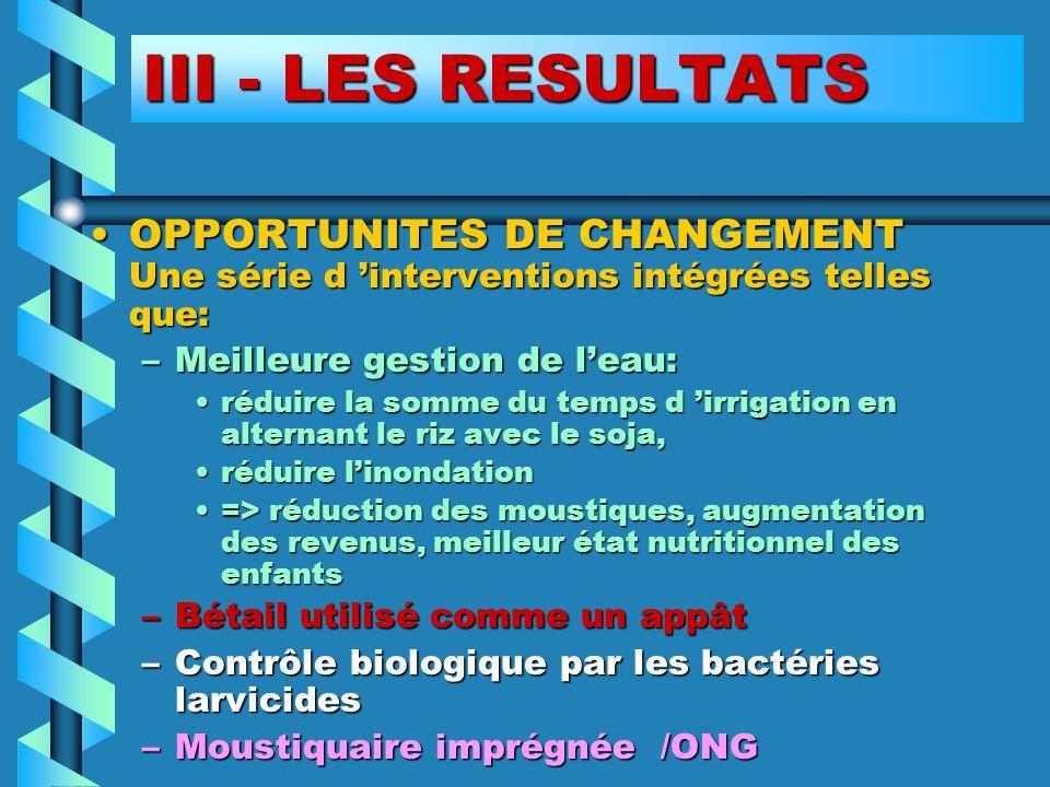 III - LES RESULTATS OPPORTUNITES DE CHANGEMENT Une série d 'interventions intégrées telles que: Meilleure gestion de l'eau: