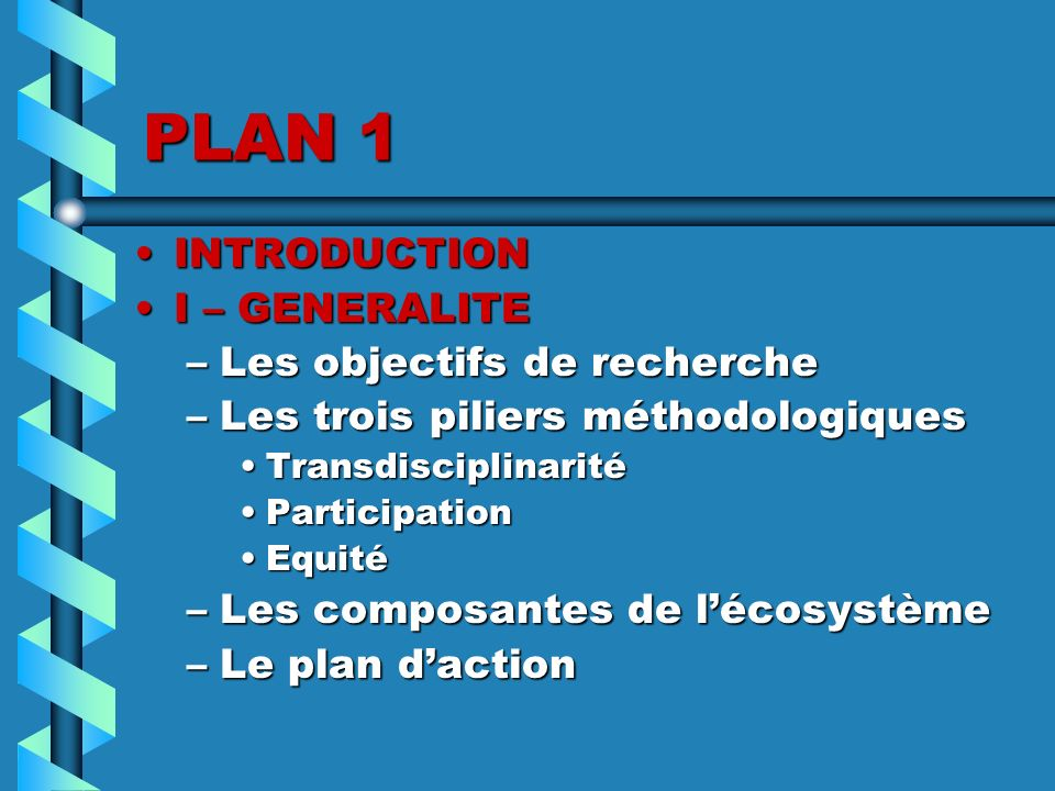 PLAN 1 INTRODUCTION I – GENERALITE Les objectifs de recherche