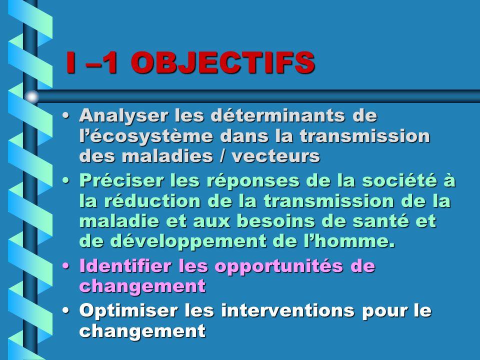I –1 OBJECTIFS Analyser les déterminants de l'écosystème dans la transmission des maladies / vecteurs.