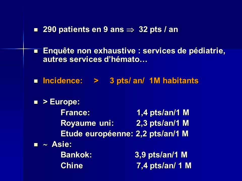 290 patients en 9 ans  32 pts / an