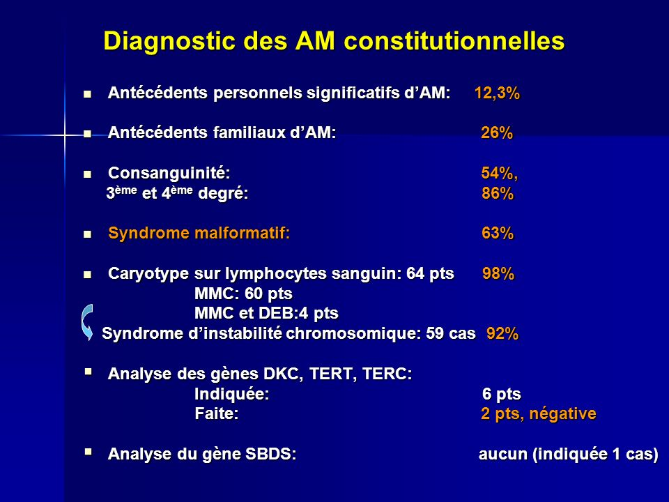 Diagnostic des AM constitutionnelles