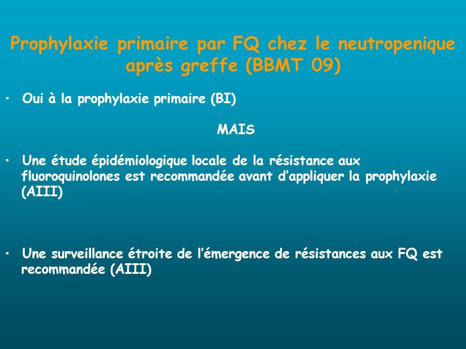 Prophylaxie primaire par FQ chez le neutropenique après greffe (BBMT 09)
