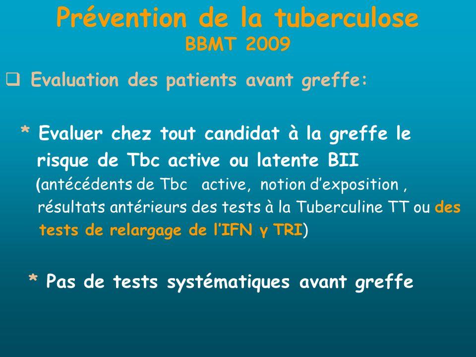 Prévention de la tuberculose BBMT 2009