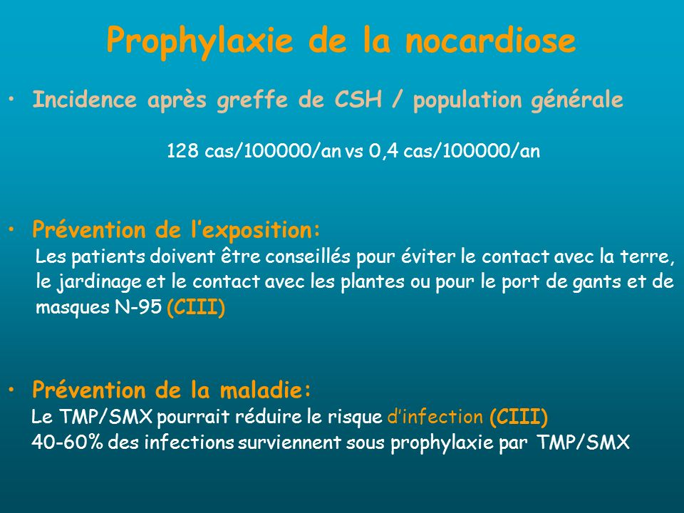 Prophylaxie de la nocardiose