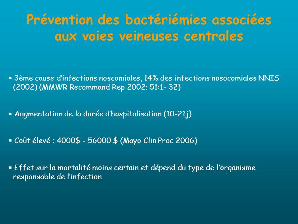 Prévention des bactériémies associées aux voies veineuses centrales