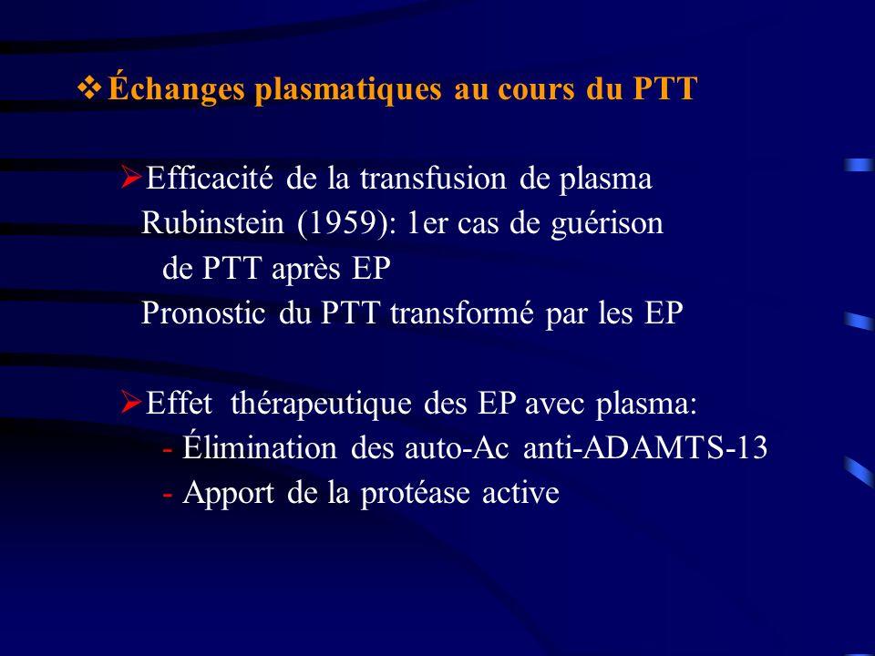 Échanges plasmatiques au cours du PTT