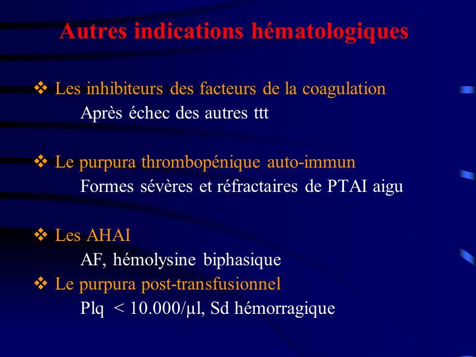 Autres indications hématologiques