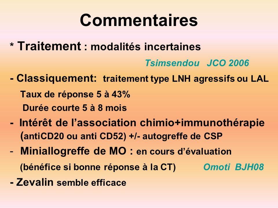 Commentaires * Traitement : modalités incertaines Tsimsendou JCO 2006