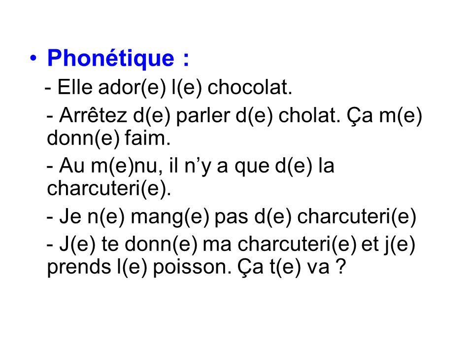 Phonétique : - Arrêtez d(e) parler d(e) cholat. Ça m(e) donn(e) faim.
