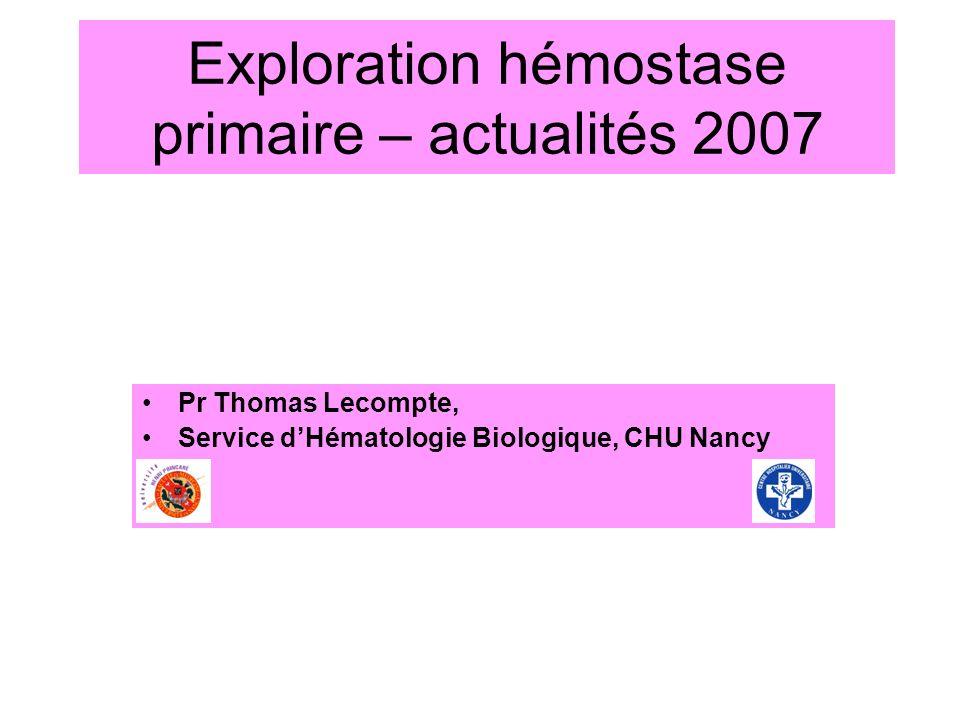 Exploration hémostase primaire – actualités 2007