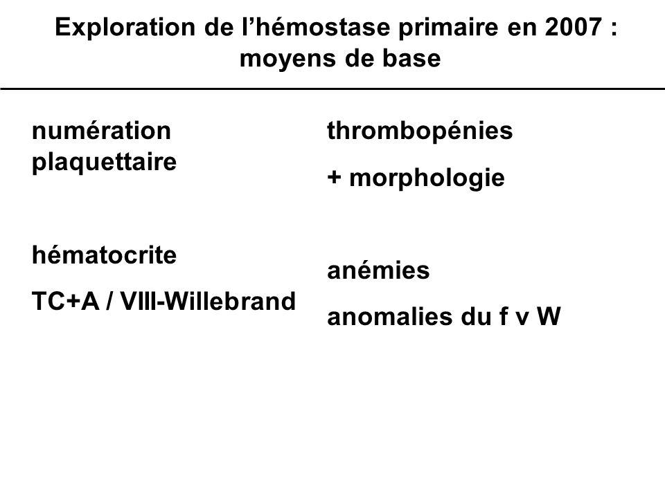 Exploration de l'hémostase primaire en 2007 : moyens de base