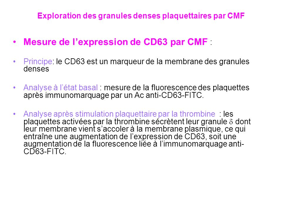 Exploration des granules denses plaquettaires par CMF