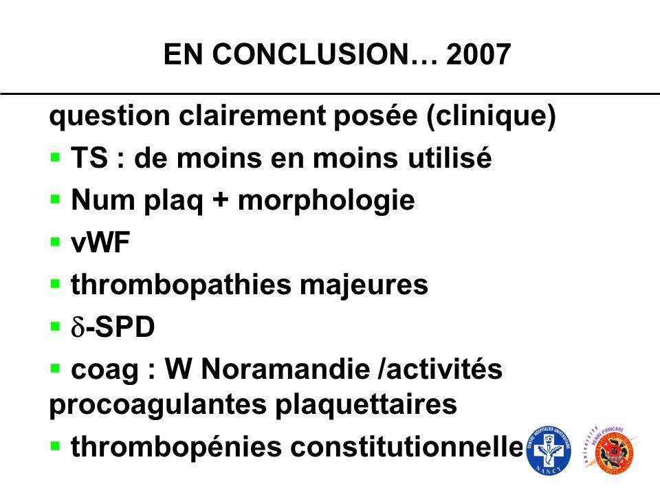 EN CONCLUSION… 2007question clairement posée (clinique) TS : de moins en moins utilisé. Num plaq + morphologie.