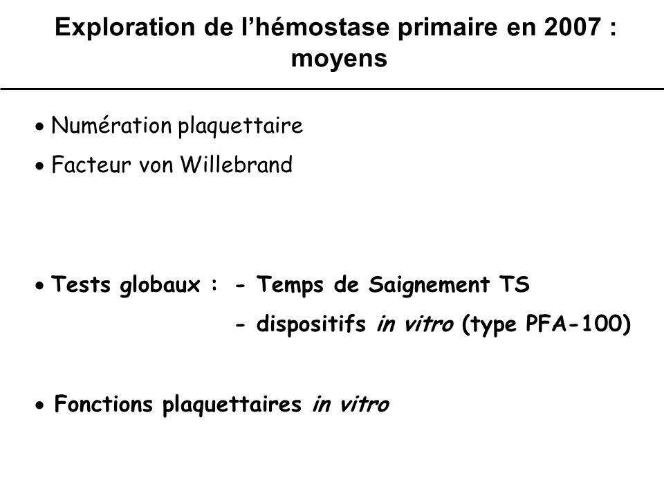 Exploration de l'hémostase primaire en 2007 : moyens