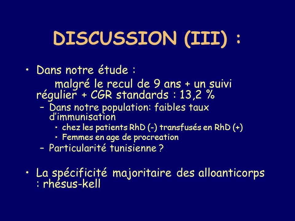 DISCUSSION (III) : Dans notre étude :