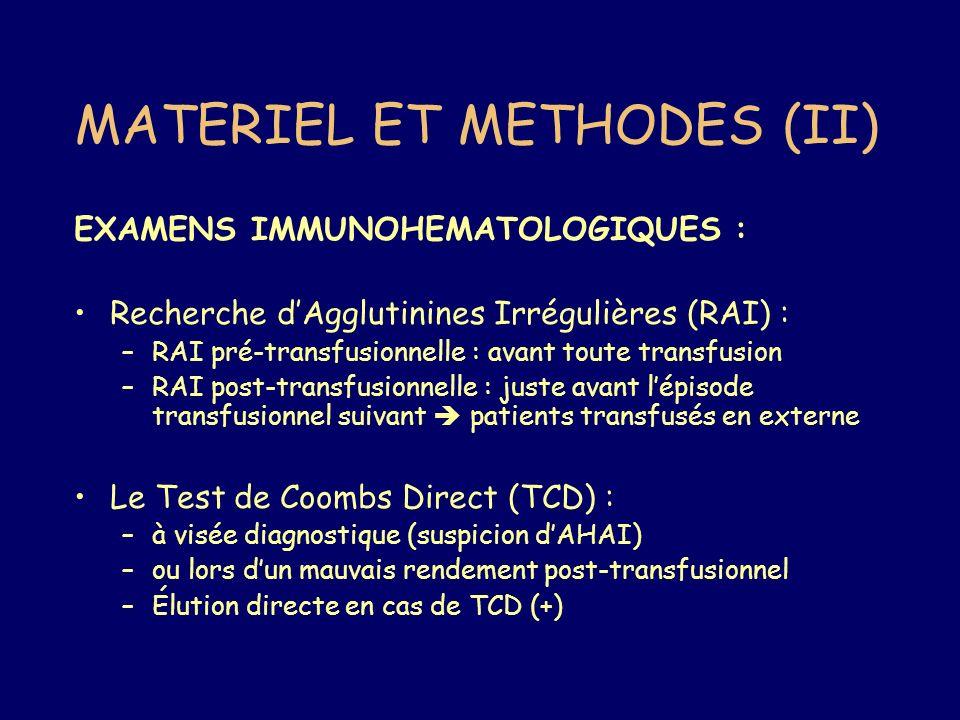 MATERIEL ET METHODES (II)