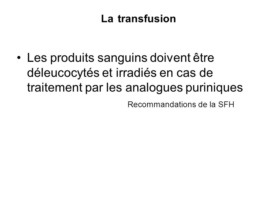 Recommandations de la SFH