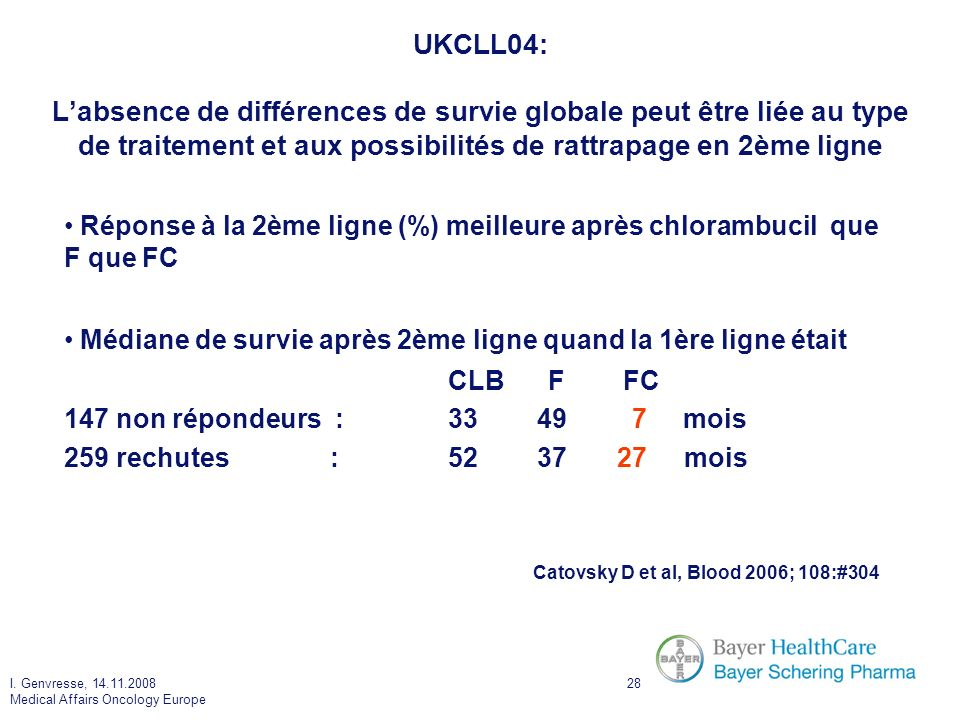 UKCLL04: L'absence de différences de survie globale peut être liée au type de traitement et aux possibilités de rattrapage en 2ème ligne